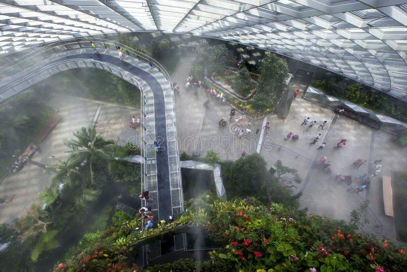 Los visitantes caminan a través del puente del cielo en el atrio de la selva tropical en los jardines por la bahía en Singapur imagenes de archivo