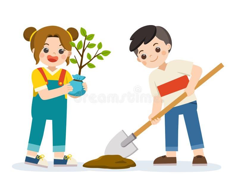 Los voluntarios lindos de los niños plantaron el árbol joven para la reserva la tierra ilustración del vector