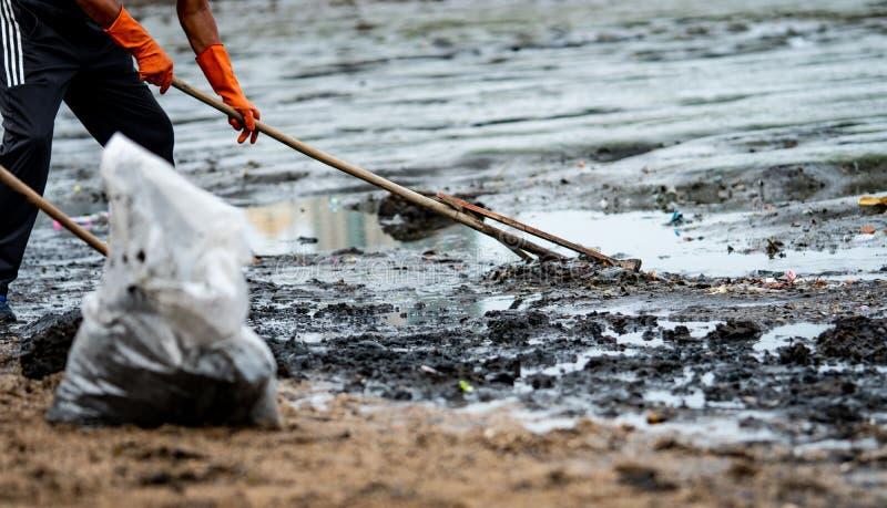 Los voluntarios llevan guantes de goma anaranjados para recoger la basura Contaminación del ambiente de la playa Voluntarios que  imágenes de archivo libres de regalías