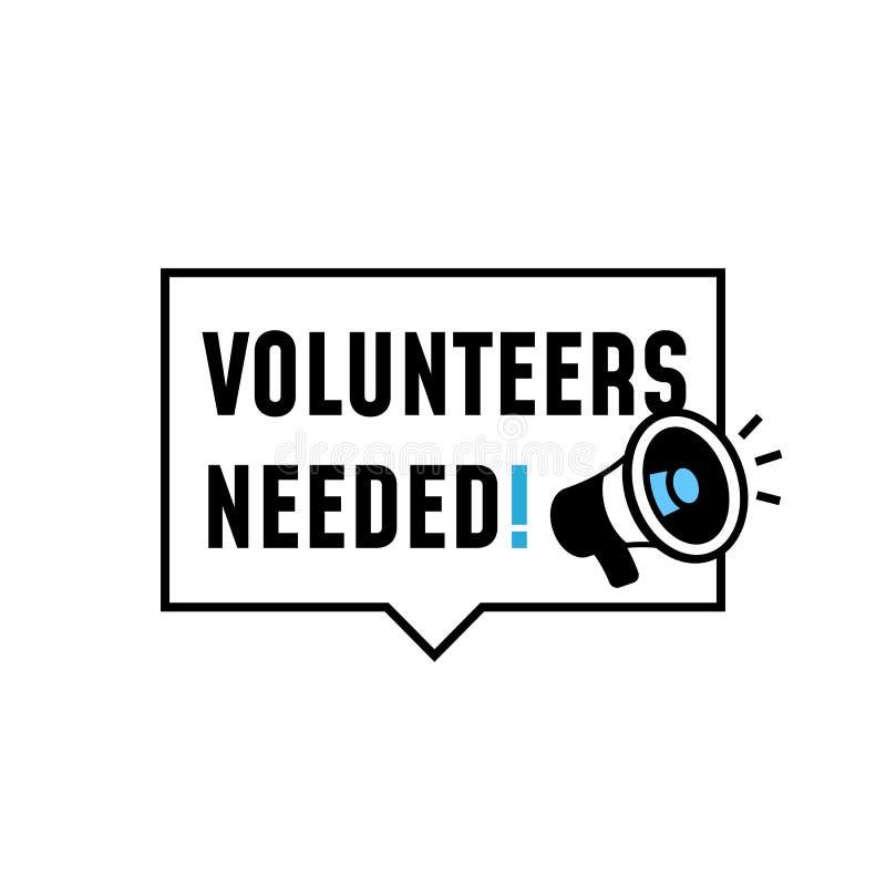 Los voluntarios necesitaban un diseño simple de etiquetas de placa con un altavoz megáfono ilustración vectorial de icono libre illustration