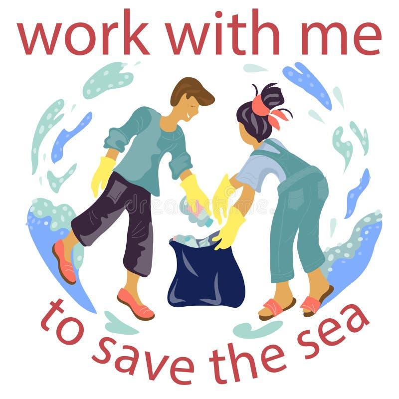 Los voluntarios recogen la basura en el ejemplo plano del vector de la playa del océano aislado ilustración del vector