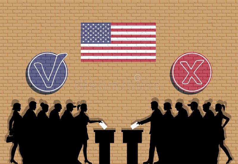 Los votantes americanos aprietan la silueta en la elección con las marcas de verificación ilustración del vector