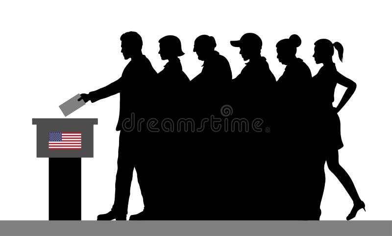 Los votantes americanos aprietan la silueta votando por la elección en los E.E.U.U. stock de ilustración