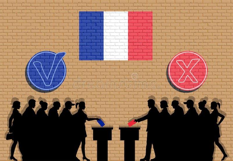 Los votantes franceses aprietan la silueta en la elección con la pintada de las marcas de verificación y de la bandera de Francia stock de ilustración