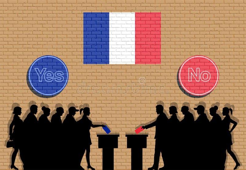 Los votantes franceses aprietan la silueta en la elección de Francia con sí y ninguna pintada de las muestras ilustración del vector