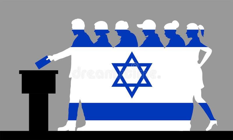 Los votantes israelíes aprietan la silueta como la bandera de Israel votando por la elección ilustración del vector
