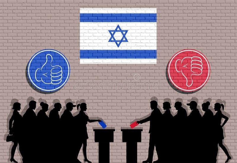 Los votantes israelíes aprietan la silueta en la elección con la pintada de los iconos del pulgar y de la bandera de Israel ilustración del vector
