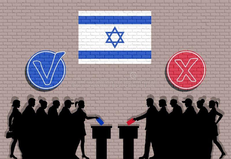 Los votantes israelíes aprietan la silueta en la elección con la pintada de las marcas de verificación y de la bandera de Israel stock de ilustración