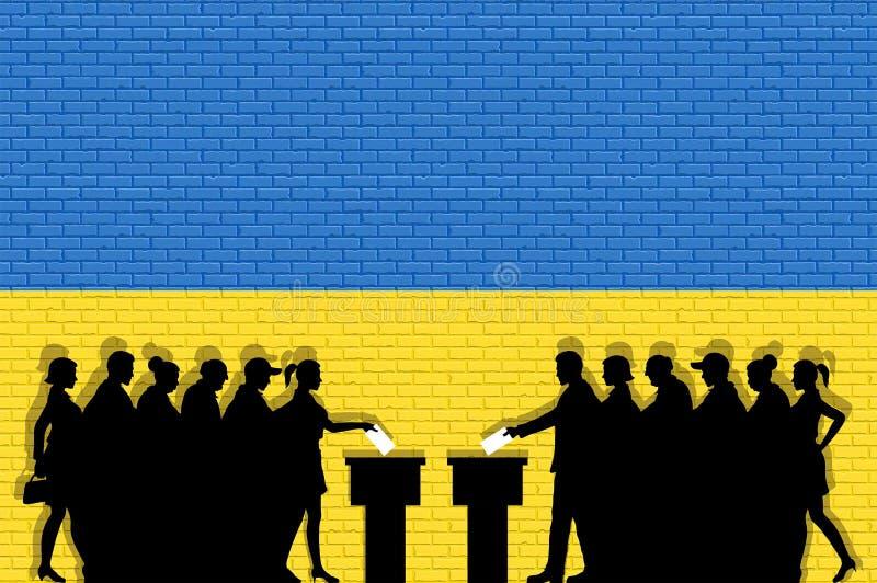 Los votantes ucranianos aprietan la silueta en la elección con la pintada de la bandera de Ucrania delante de la pared de ladrill ilustración del vector