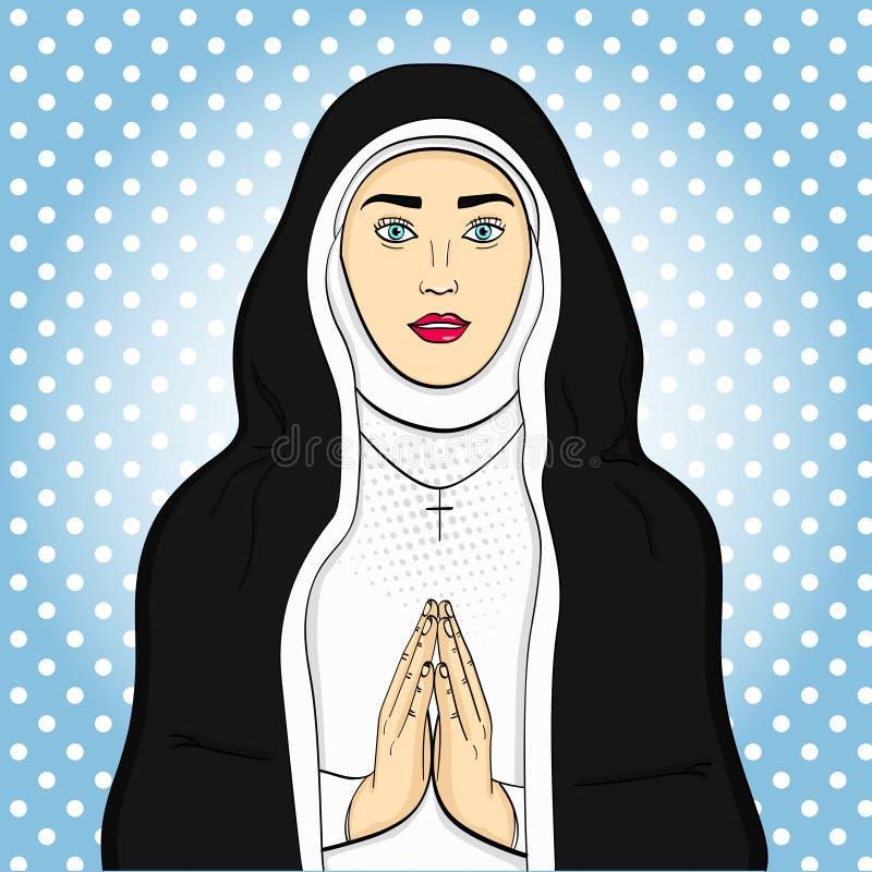 Los votaress del arte pop, hermana de dios ruegan En ropa blanco y negro Tema de la fe, vector de la mujer libre illustration