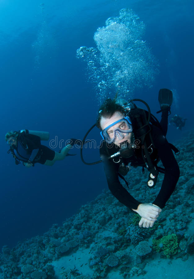 Los zambullidores de equipo de submarinismo disfrutan de una gran zambullida en el filón coralino imagenes de archivo
