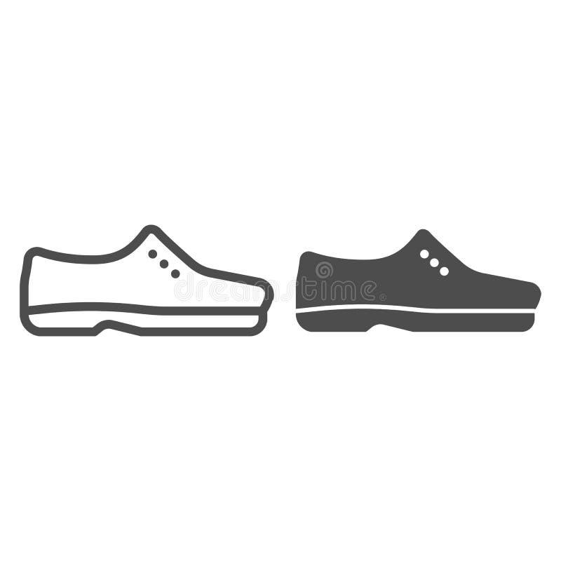 Los zapatos de los hombres alinean y el icono del glyph Ejemplo masculino del vector de los zapatos aislado en blanco Diseño form stock de ilustración