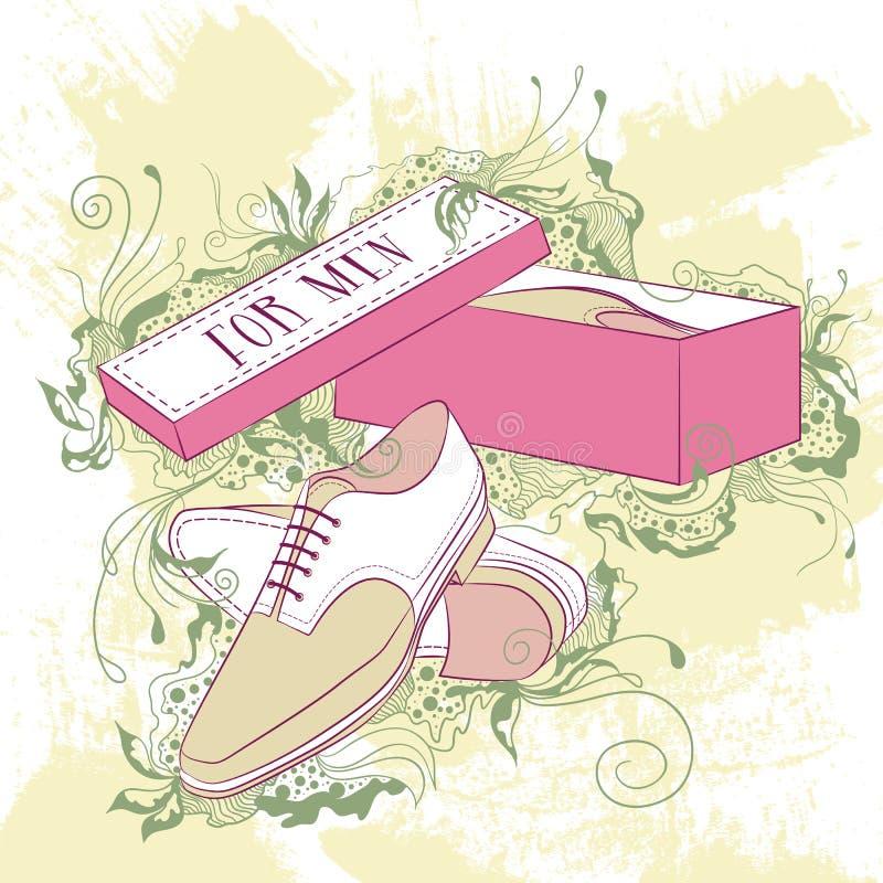 Los zapatos de la moda de los hombres decorativos del ejemplo ilustración del vector