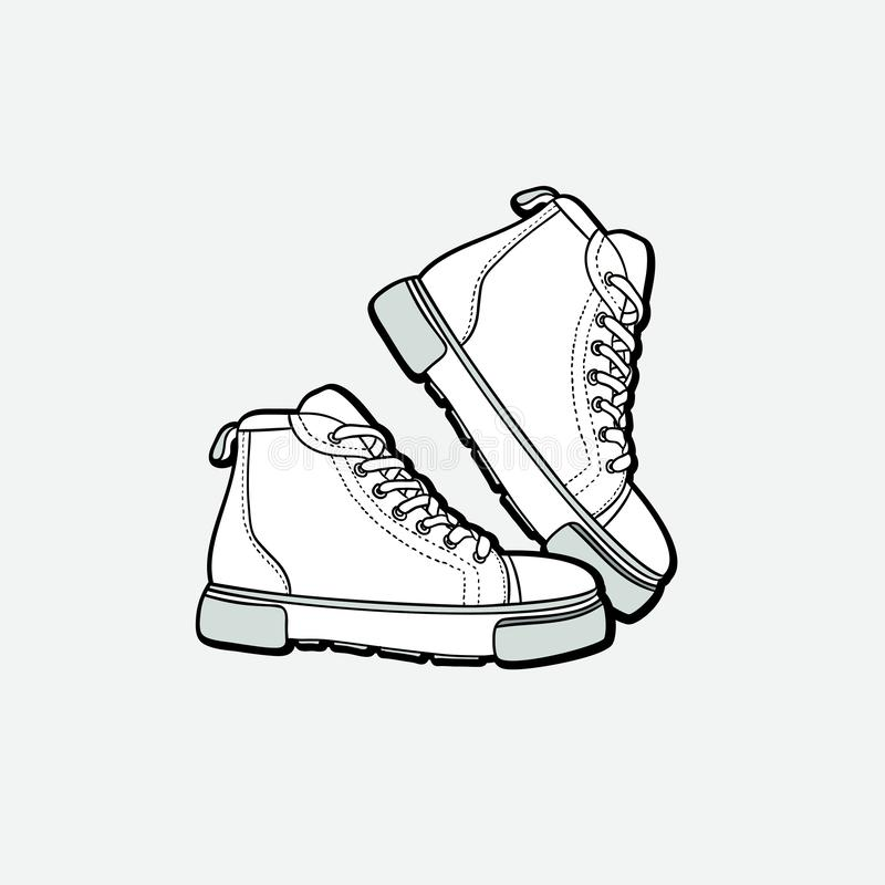 Los zapatos de las zapatillas de deporte se emparejan aislado Zapatos blancos y negros del ejemplo exhausto del vector de la mano stock de ilustración