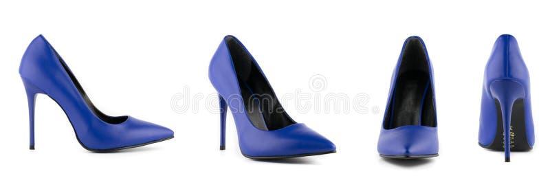 Los zapatos del tacón alto del estilete de la mujer aislaron el azul fotos de archivo
