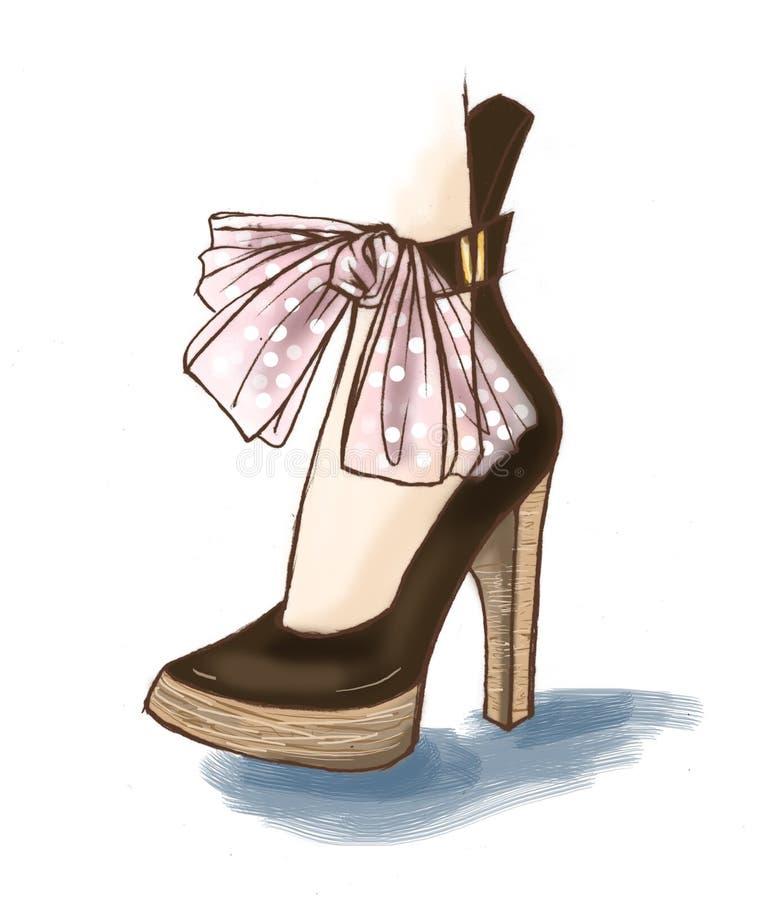 Los zapatos elegantes de la moda diseñan, bosquejo del ejemplo de los accesorios libre illustration