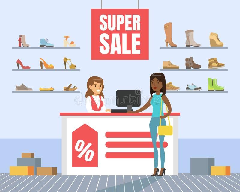 Los zapatos que eligen y de compras en tienda, zapatos de la mujer almacenan interior, compras de la muchacha en el ejemplo del v ilustración del vector