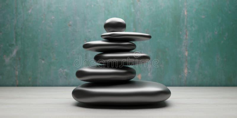 Los ZENES Stone apilan en un cuarto ilustraci?n 3D stock de ilustración
