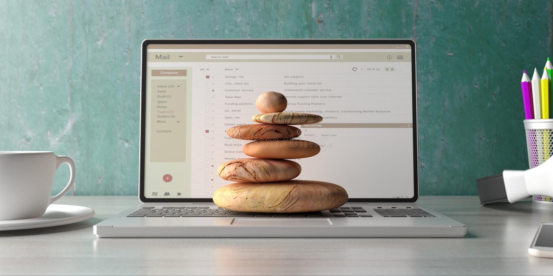 Los ZENES Stone apilan en un fondo del escritorio de oficina del ordenador portátil del ordenador ilustraci?n 3D stock de ilustración