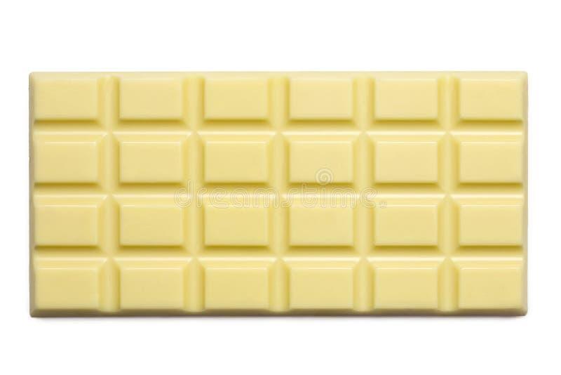 Losa entera del chocolate blanco aislada en blanco desde arriba fotografía de archivo