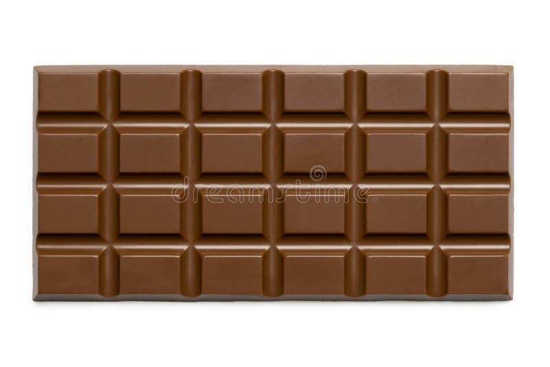 Losa entera del chocolate con leche aislada en blanco desde arriba imagenes de archivo