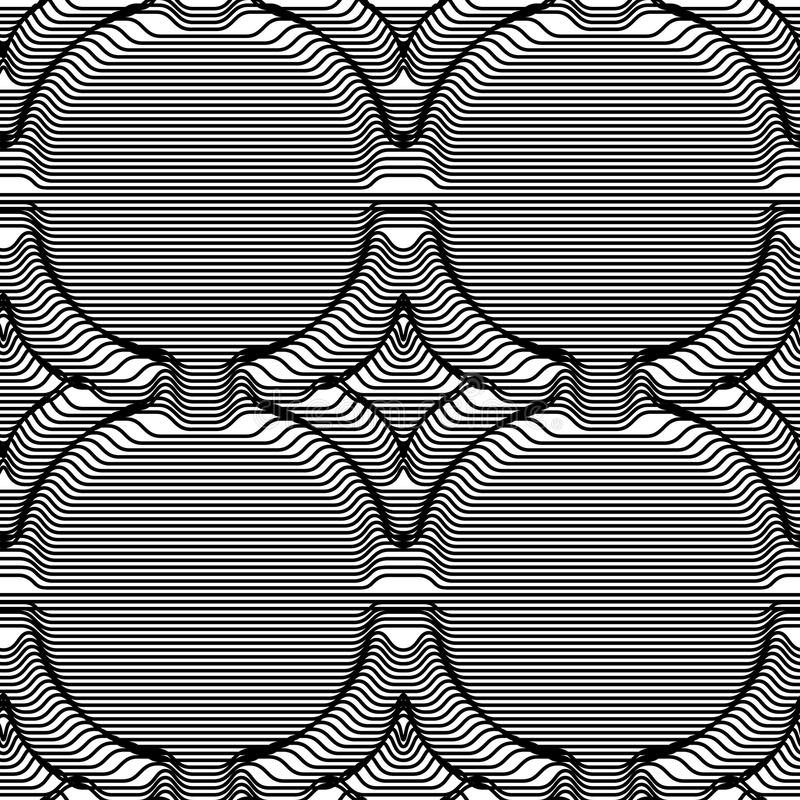 Losange volumétrique de modèle sans couture des bandes Art d'illusion optique illustration libre de droits