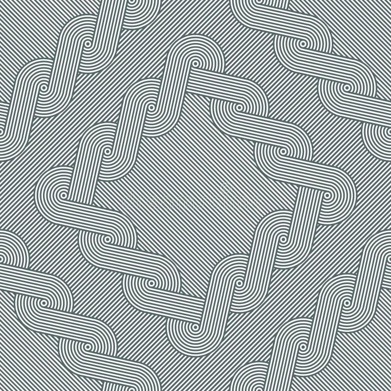 Losanges avec les bords tressés bouclés sur le fond rayé Configuration géométrique sans joint illustration libre de droits