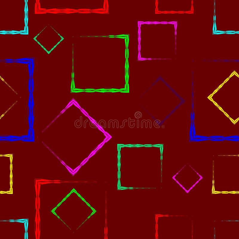 Losanges et places multicolores sur un fond pourpre illustration stock