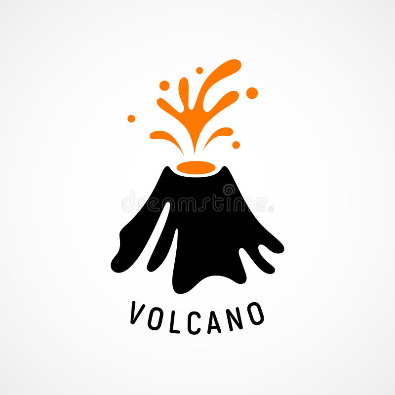 Losbarstend vulkaanpictogram vector illustratie