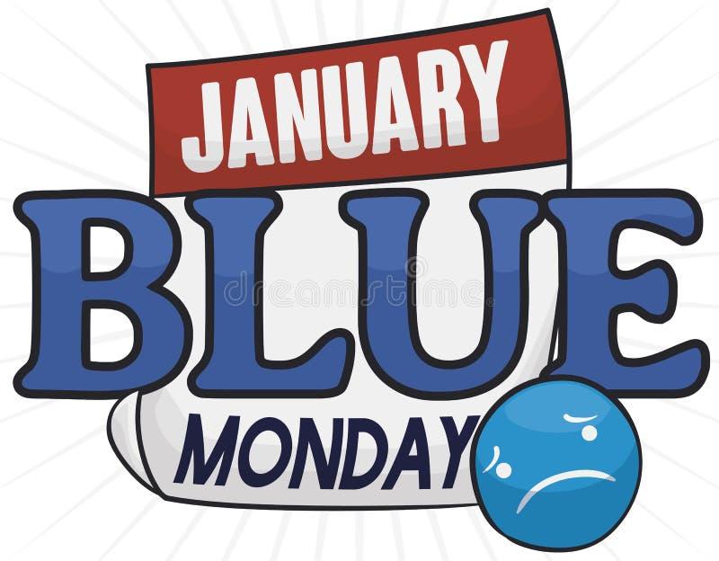 Losbladige Kalender met Droevige Knoop voor Blue Monday, Vectorillustratie royalty-vrije illustratie