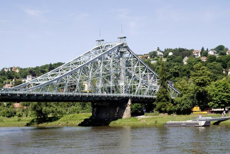 Loschwitzer Bridge of Dresden in Saxony stock images
