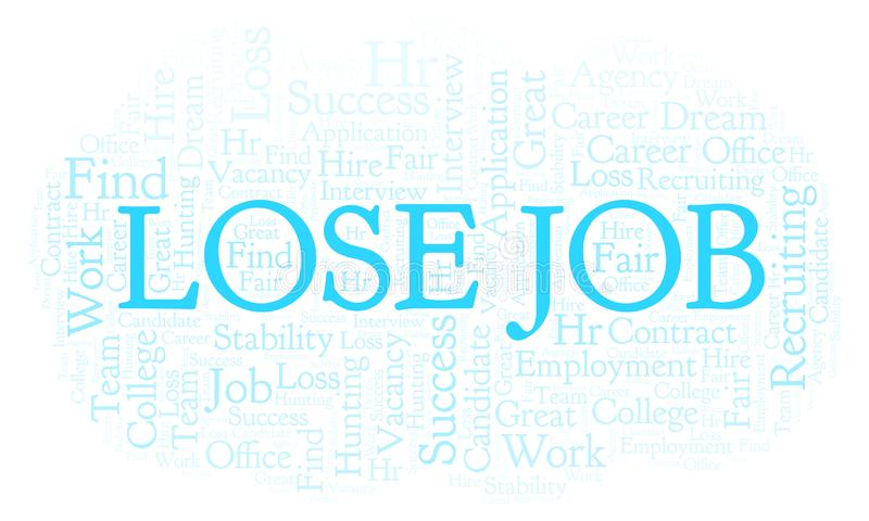 Lose Job word cloud. Wordcloud made with text only vector illustration