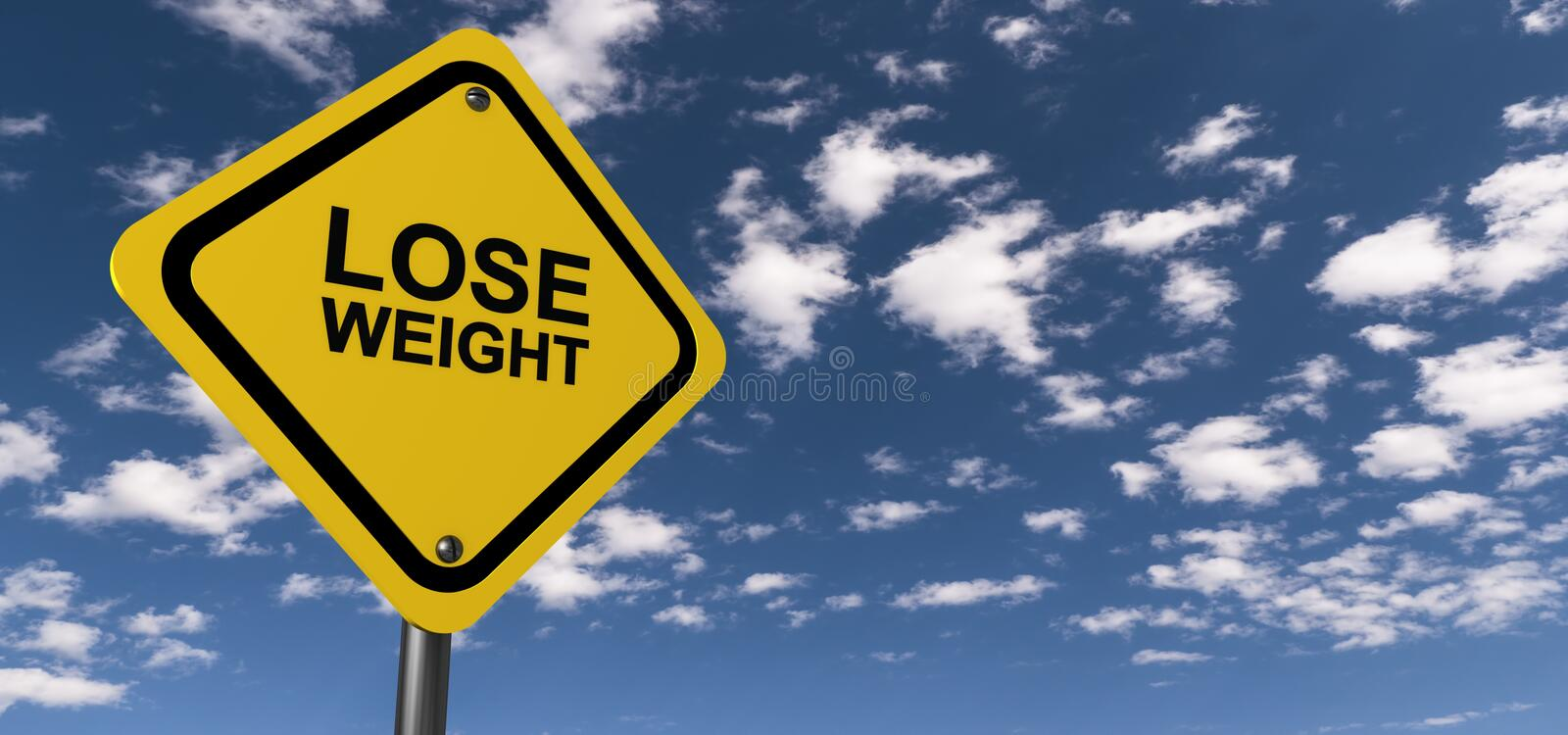 Lose weight sign. Yellow traffic sign with text graphics lose weight against blue skies with clouds vector illustration