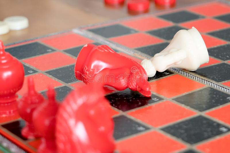 The loser of fighting chess, committed, competition, winner, successful, dedicate concept stock image