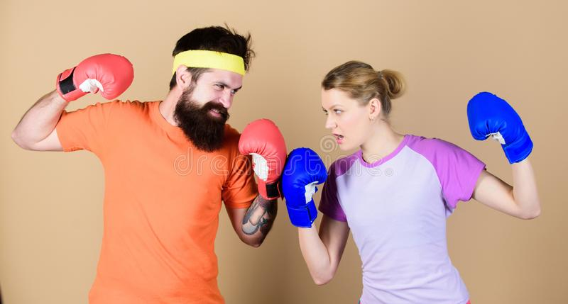 Losers complain champions train. Happy woman and bearded man workout in gym. knockout and energy. couple training in. Losers complain champions train. Happy stock images