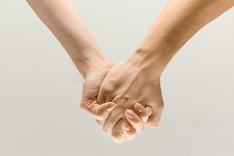Loseup shot of human holding hands isolated on grey studio background. Leading you on. loseup shot of male and female holding hands isolated on grey studio stock photography