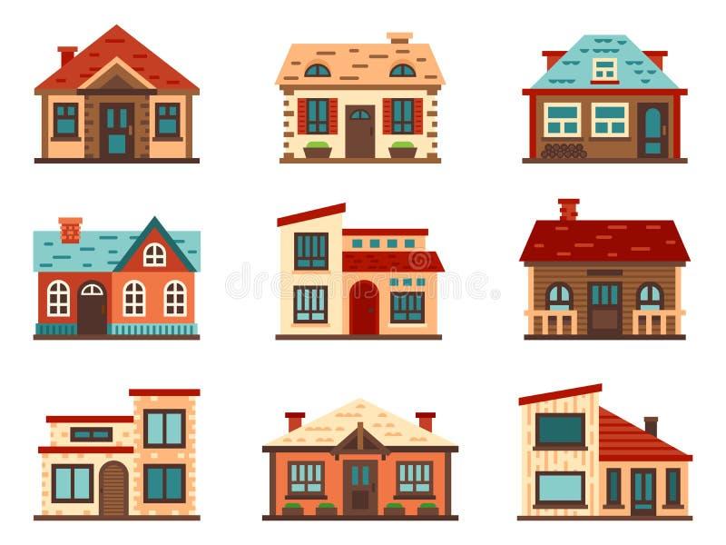 Losgemaakt huis in de voorsteden Het leven huizen, de huisvestende dakbouw en de vector vlakke illustratie van de huisvoorgevel royalty-vrije illustratie