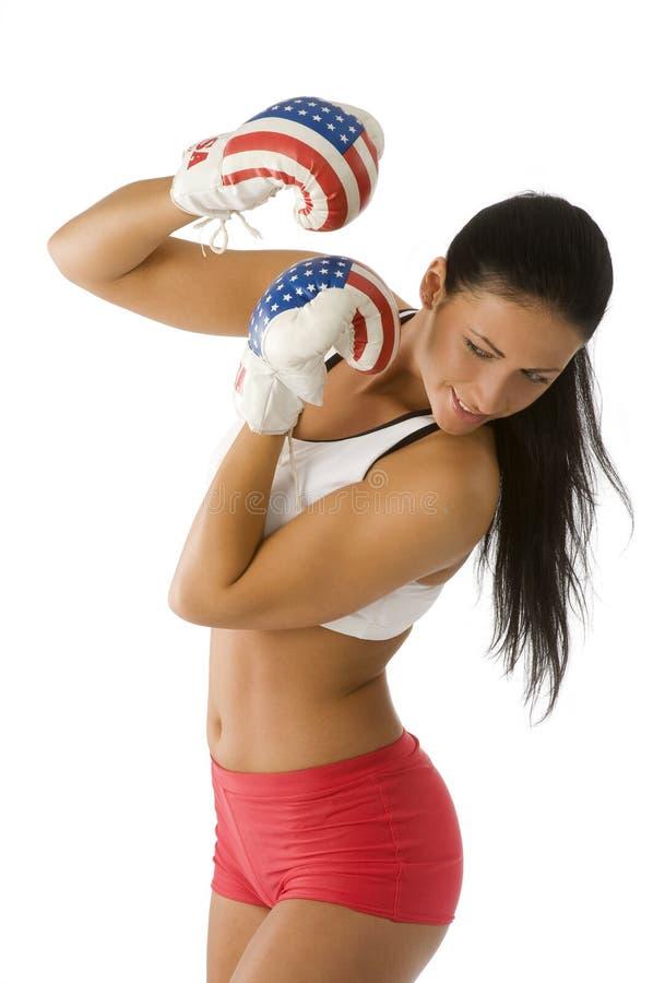 Losing boxing woman royalty free stock photos