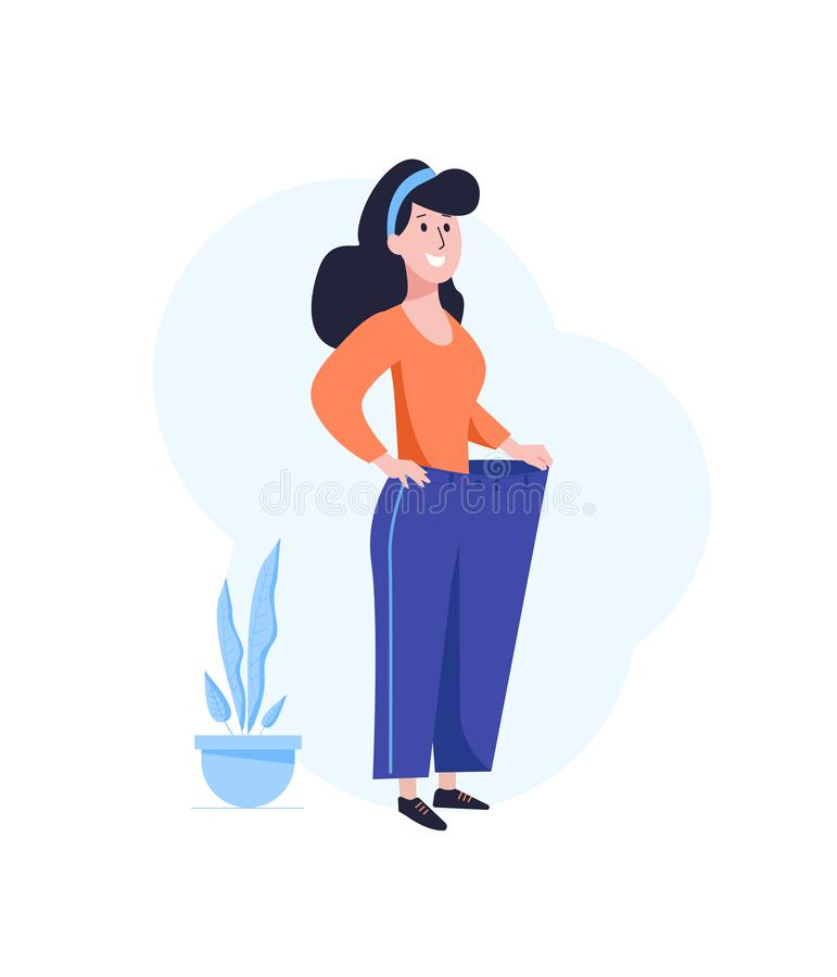 Losing weight. Successful dieting concept. Happy woman with in oversized pants. Flat vector illustration isolated on royalty free illustration