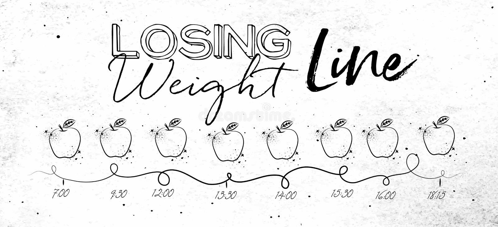 Losing weight timeline vector illustration