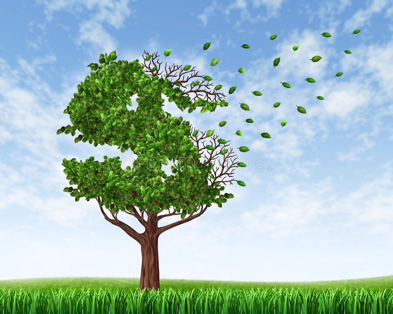 Losing Your Savings. And managing your debt and financial budget with a green tree in the shape of a dollar sign with leaves falling off and floating away as an