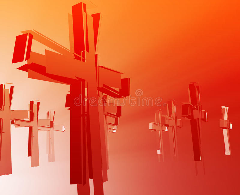 Loss of faith religion. Illustrated by broken christian church crosses stock illustration
