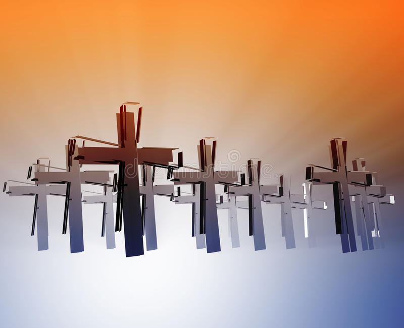 Loss of faith religion. Illustrated by broken christian church crosses stock illustration