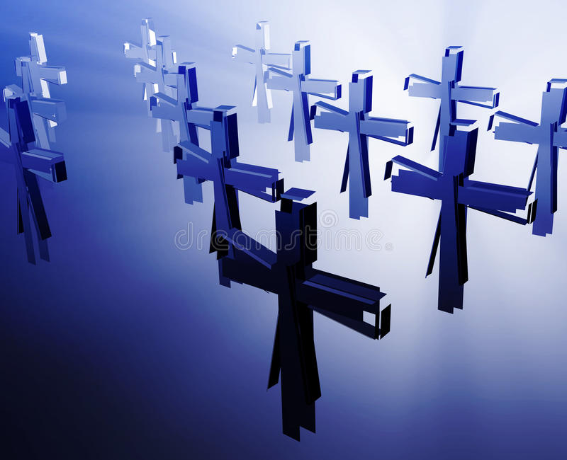 Loss of faith religion. Illustrated by broken christian church crosses royalty free illustration