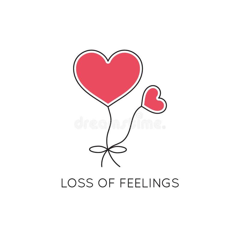 Loss of feelings line icon stock illustration