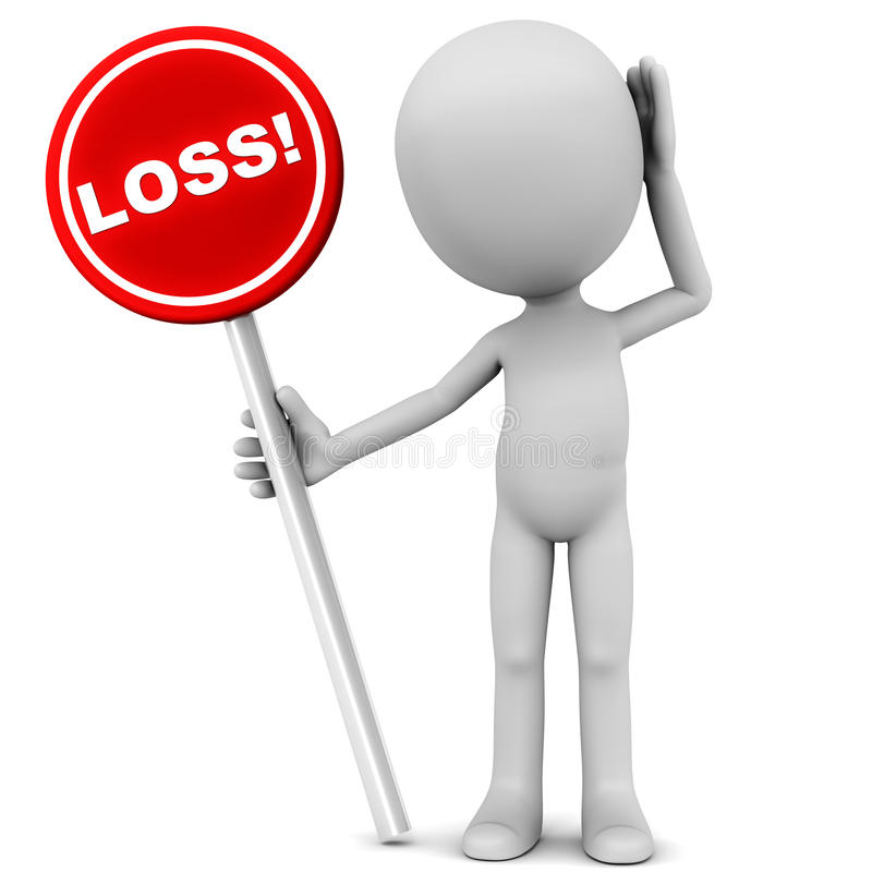 Loss. Little 3d man holding a red loss banner on white background and holding head in stress, concept of loss of revenue or net loss in business operations vector illustration