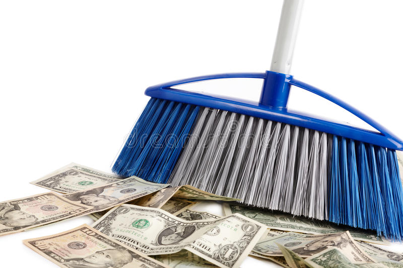 Loss of the money. Dollar sweeper isolated on white , selective focus stock images