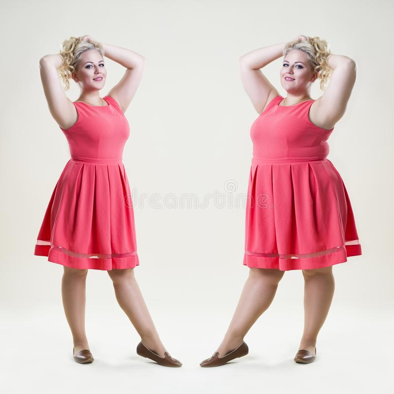 After before loss weight concept, happy plus size fashion model, fat and slim woman. On beige studio background, full length portrait royalty free stock images