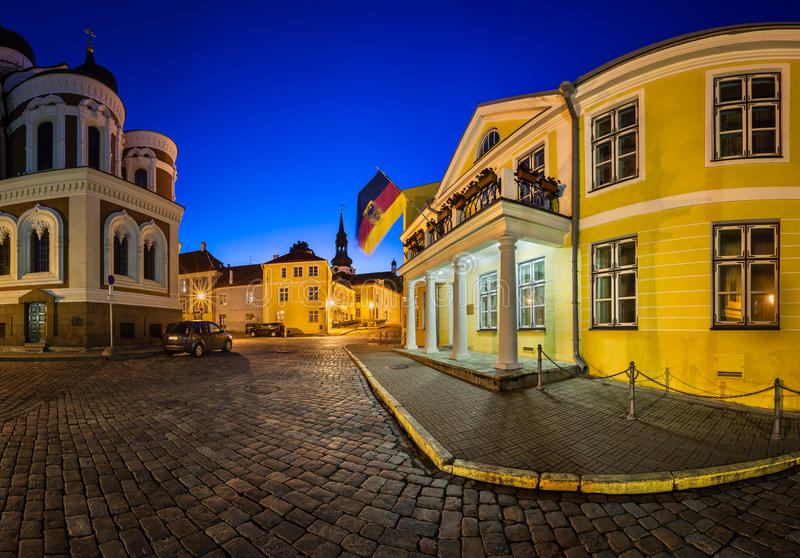 Lossi Plats Square and Alexander Nevski Cathedral. In the Evening, Tallinn, Estonia stock images