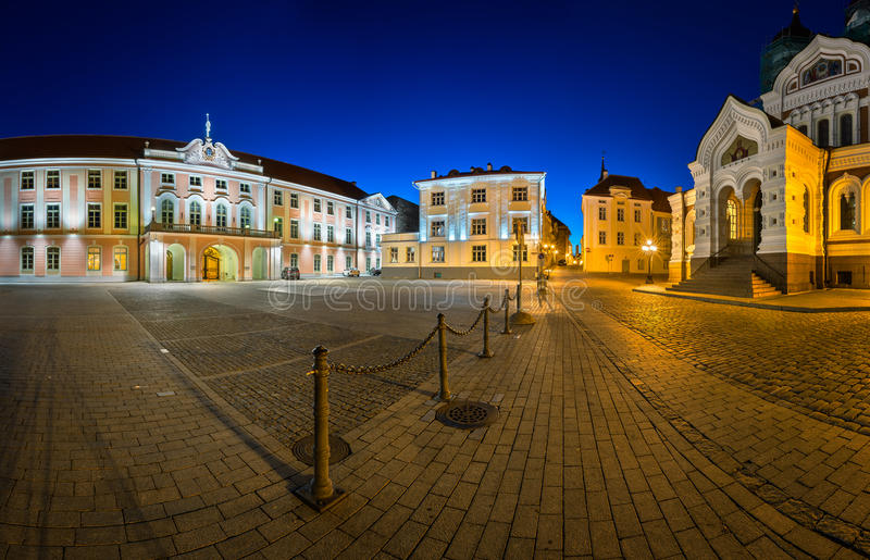 Lossi Plats Square and Alexander Nevski Cathedral. In the Evening, Tallinn, Estonia stock image